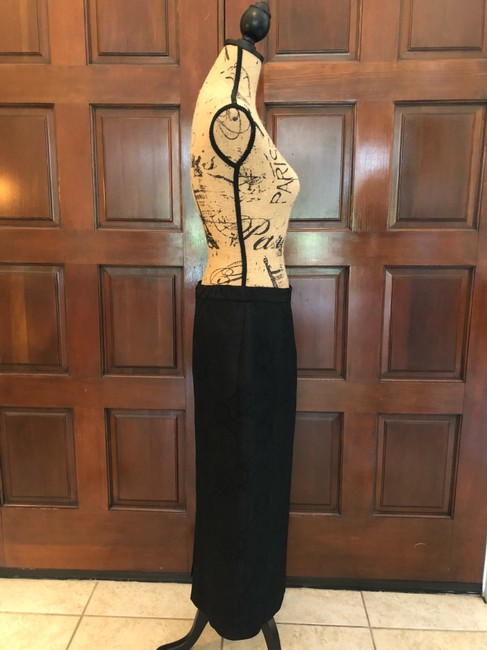 Ava Polini Eva Polini Couture Black Brocade Suit with Long Skirt Size 8 made in USA Image 5