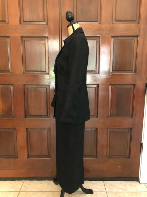 Ava Polini Eva Polini Couture Black Brocade Suit with Long Skirt Size 8 made in USA Image 6