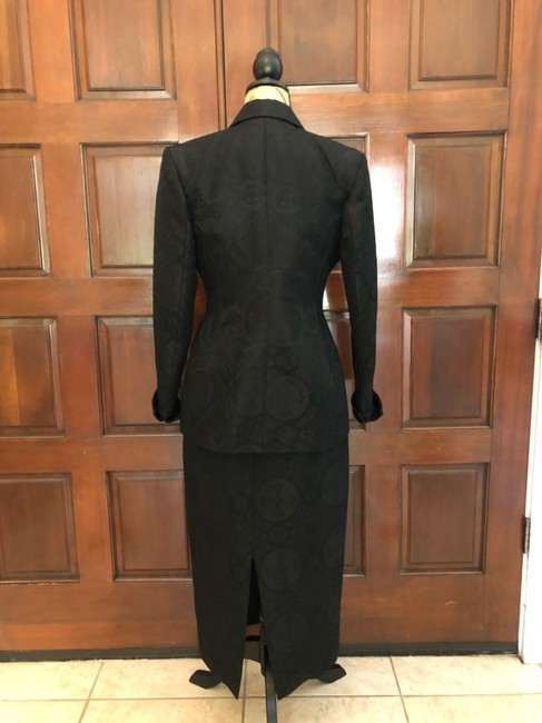 Ava Polini Eva Polini Couture Black Brocade Suit with Long Skirt Size 8 made in USA Image 7