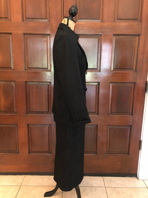 Ava Polini Eva Polini Couture Black Brocade Suit with Long Skirt Size 8 made in USA Image 8