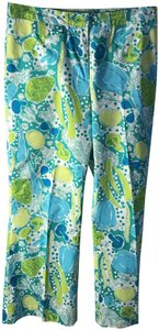 Lilly Pulitzer Stretch Fruit Print Belt Loops Flare Pants Multi-colored