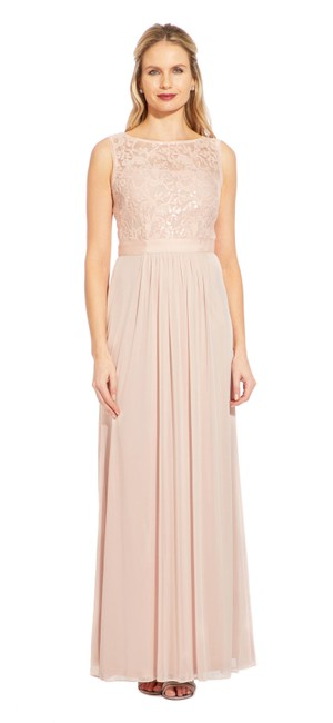 Adrianna Papell Embroidered Sequin Tulle Sleeveless Dress Image 2