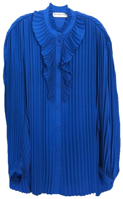 Item - Blue Plisse Pleated Blouse Size 10 (M)