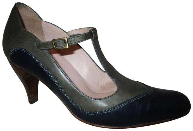 Item - Navy & Olive Green Two Tone T-strap Pumps Size US 6 Regular (M, B)