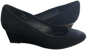 Tod's Suede Rubber Textured Sole Pointed Toe Black Wedges