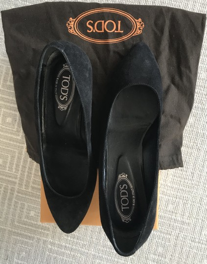 Tod's Suede Rubber Textured Sole Pointed Toe Black Wedges Image 1