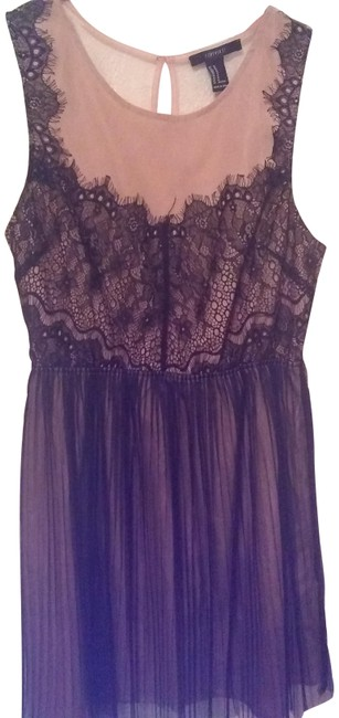 Item - Black/ Beige Lace Love Mid-length Short Casual Dress Size 8 (M)