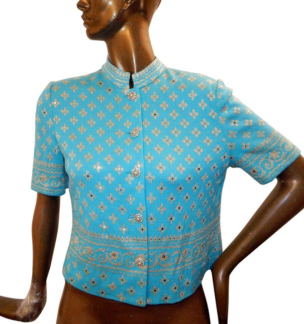 Preload https://img-static.tradesy.com/item/25432399/st-john-blue-gold-knit-paillette-flowers-jeweled-buttons-usa-jacket-size-8-m-0-1-650-650.jpg