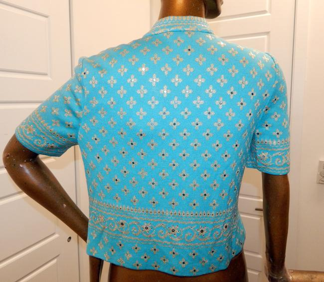 St. John Jewel Paillette Knit Floral Blue Jacket Image 2