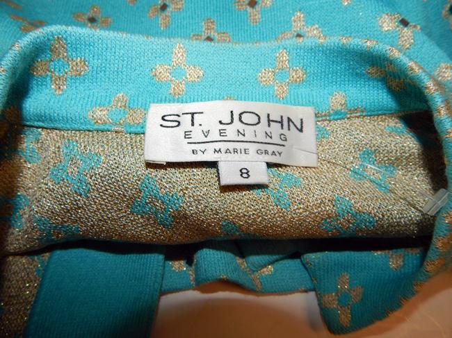 St. John Jewel Paillette Knit Floral Blue Jacket Image 9