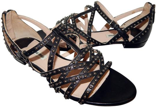 Miu Miu Strappy Studded Leather Black Sandals Image 0
