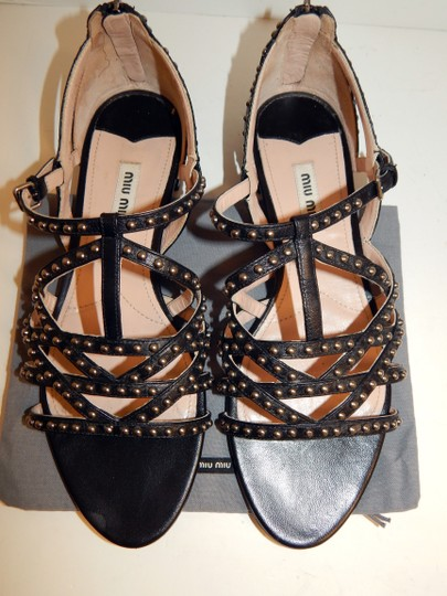 Miu Miu Strappy Studded Leather Black Sandals Image 10