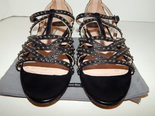 Miu Miu Strappy Studded Leather Black Sandals Image 3