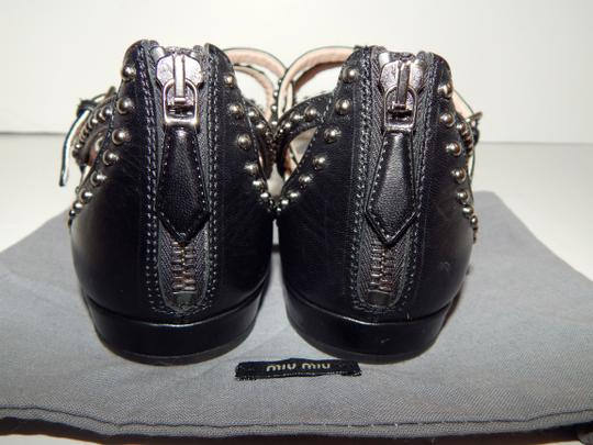 Miu Miu Strappy Studded Leather Black Sandals Image 5
