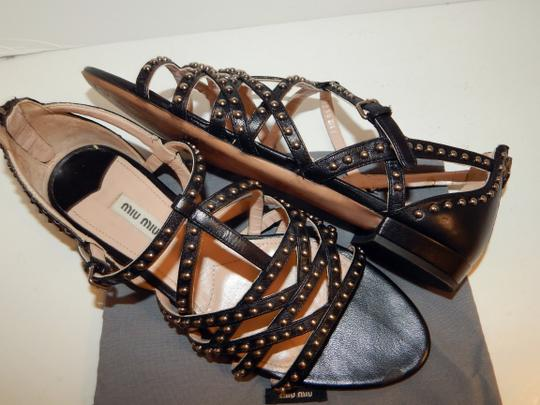 Miu Miu Strappy Studded Leather Black Sandals Image 7