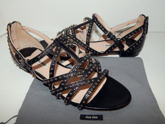 Miu Miu Strappy Studded Leather Black Sandals Image 9