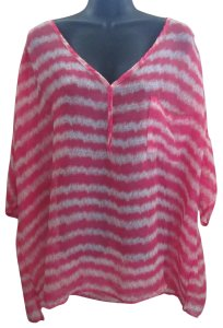 Lane Bryant Sheer Chiffon Striped Spring Summer Top Multicolored