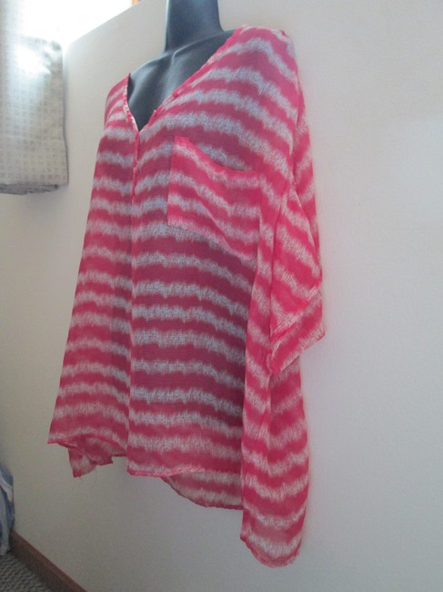 Lane Bryant Sheer Chiffon Striped Spring Summer Top Multicolored Image 1