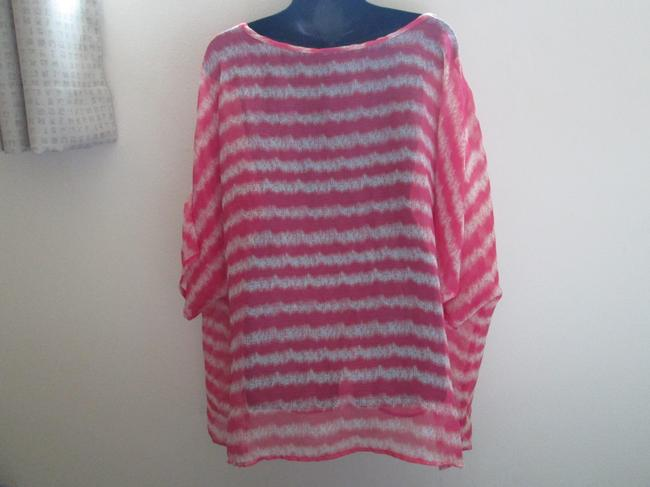 Lane Bryant Sheer Chiffon Striped Spring Summer Top Multicolored Image 2