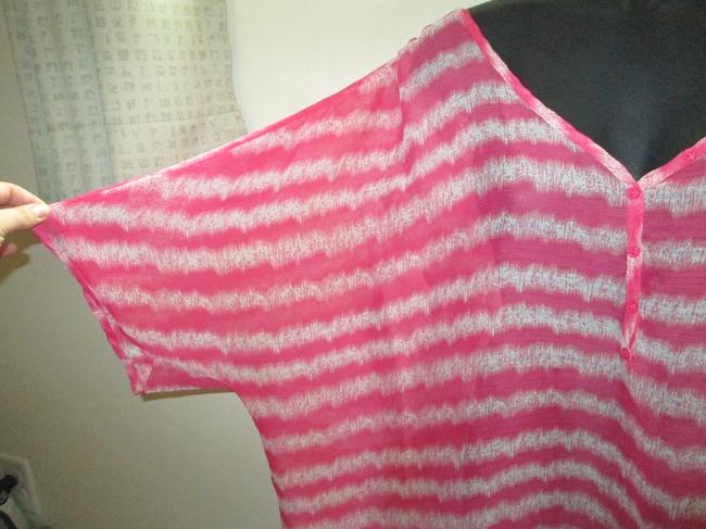 Lane Bryant Sheer Chiffon Striped Spring Summer Top Multicolored Image 3