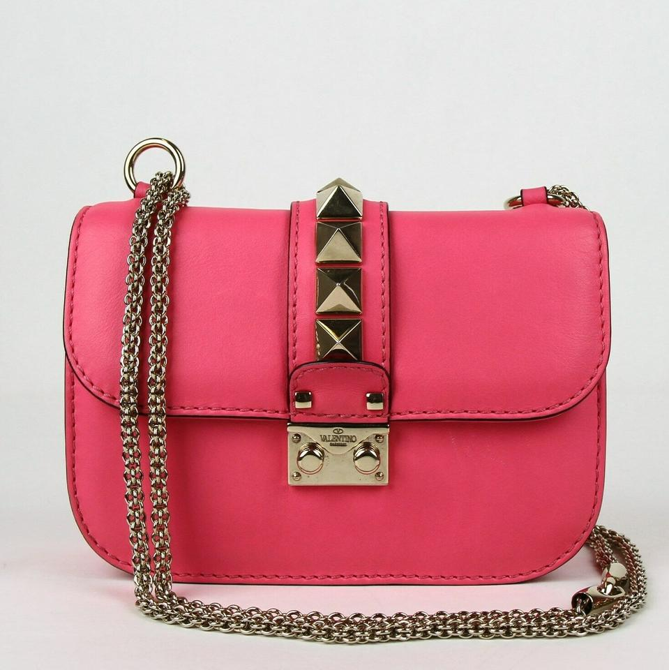 7715289a25 Valentina Small Rockstud Glam Lock Chain Flap Hot Pink Leather Cross Body  Bag