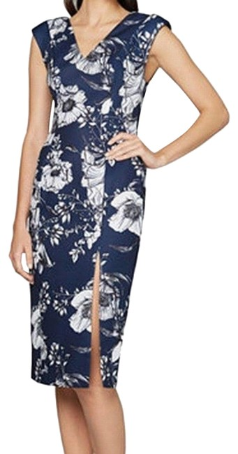 Item - Blue Multi Floral Print Lace Up Back Mid-length Cocktail Dress Size 6 (S)