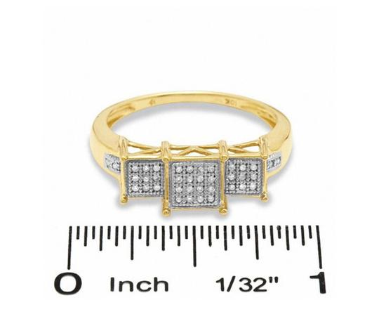 Zales Gold W 1/10 Ct. T.w. Square Composite Diamond Three Stone In Engagement Ring Image 2
