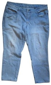 Faded Glory Denim Light Wash Distressed Petite Short Straight Leg Jeans-Light Wash
