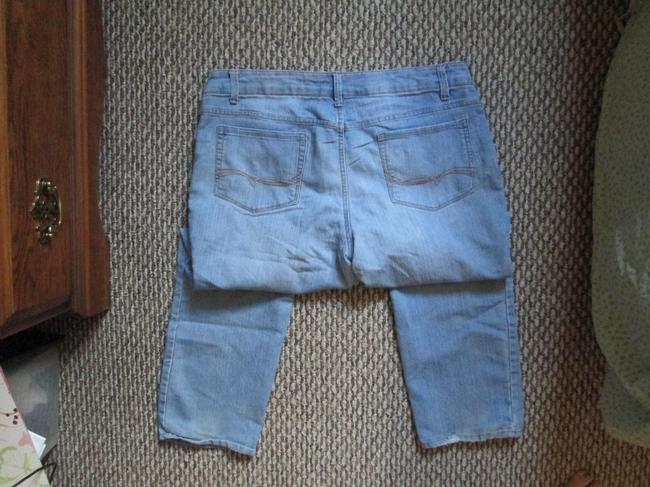 Faded Glory Denim Light Wash Distressed Petite Short Straight Leg Jeans-Light Wash Image 2