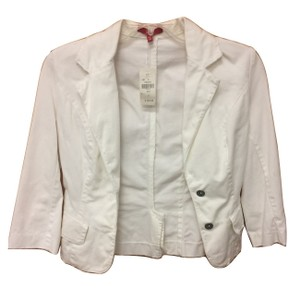LF Distressed Buttons 3/4 Sleeve White Womens Jean Jacket