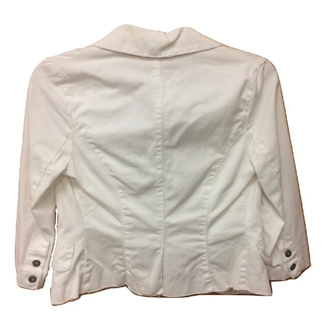 LF Distressed Buttons 3/4 Sleeve White Womens Jean Jacket Image 1