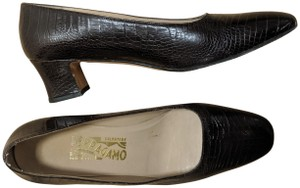 Salvatore Ferragamo Crocodile Brown Pumps