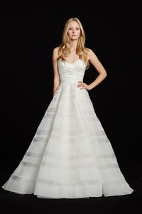 Hayley Paige Lily Strapless Taffeta and Tulle Stripe Ballgown Formal Wedding Dress Size 12 (L)