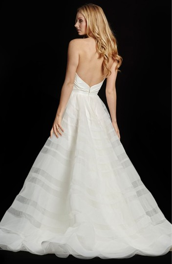 Hayley Paige Lily Strapless Taffeta and Tulle Stripe Ballgown Formal Wedding Dress Size 12 (L) Image 1