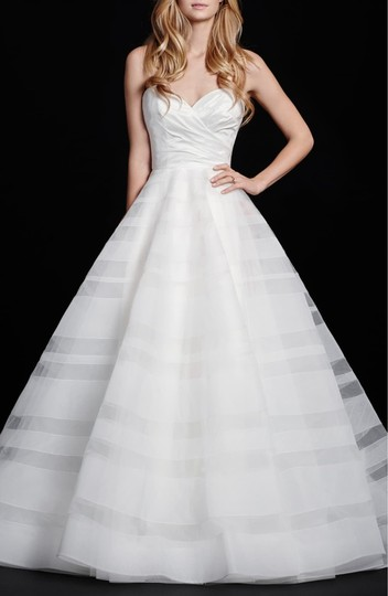 Hayley Paige Lily Strapless Taffeta and Tulle Stripe Ballgown Formal Wedding Dress Size 12 (L) Image 2