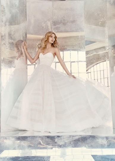 Hayley Paige Lily Strapless Taffeta and Tulle Stripe Ballgown Formal Wedding Dress Size 12 (L) Image 3