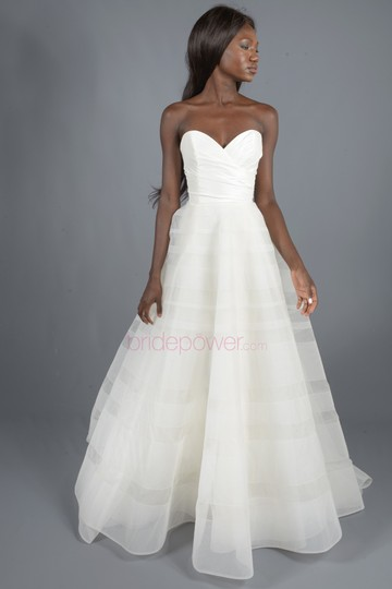 Hayley Paige Lily Strapless Taffeta and Tulle Stripe Ballgown Formal Wedding Dress Size 12 (L) Image 4