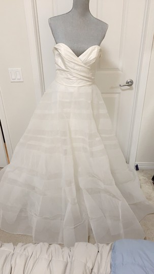 Hayley Paige Lily Strapless Taffeta and Tulle Stripe Ballgown Formal Wedding Dress Size 12 (L) Image 5