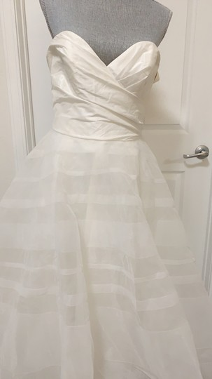 Hayley Paige Lily Strapless Taffeta and Tulle Stripe Ballgown Formal Wedding Dress Size 12 (L) Image 6