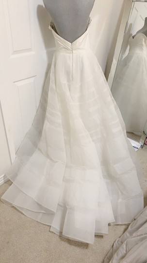 Hayley Paige Lily Strapless Taffeta and Tulle Stripe Ballgown Formal Wedding Dress Size 12 (L) Image 7