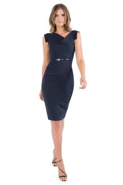Item - Navy Jackie O In Draped Neckline Tab Sleeve Small Mid-length Cocktail Dress Size 4 (S)