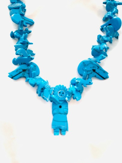 Billabong Billabong Faux Turquoise Hawaiian man with animals beach and all around Wear Style necklace Image 3
