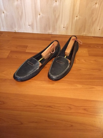 Cole Haan Leather Penny Loafer Drivers Slip-on Dark blue and brown Flats Image 1