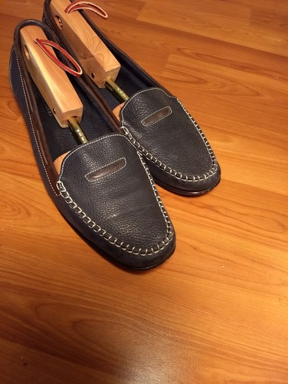 Cole Haan Leather Penny Loafer Drivers Slip-on Dark blue and brown Flats Image 4