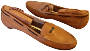 Cole Haan Leather Penny Loafer Driver Slip-on Vamp Strap cognac and brown Flats