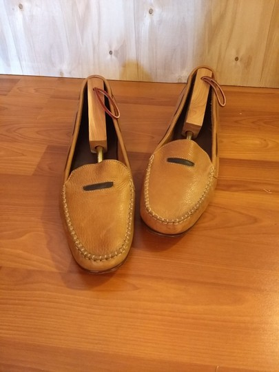 Cole Haan Leather Penny Loafer Driver Slip-on Vamp Strap cognac and brown Flats Image 1