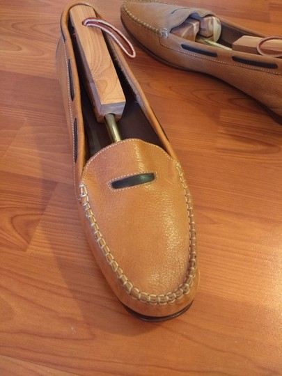 Cole Haan Leather Penny Loafer Driver Slip-on Vamp Strap cognac and brown Flats Image 2