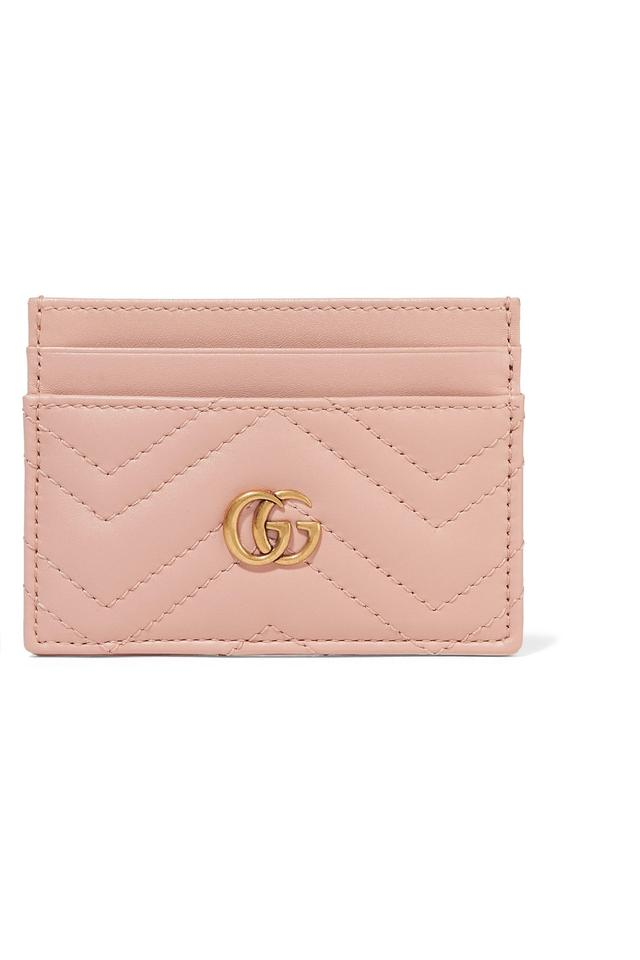 new product 8b3fb 42d9e Gucci Pink Marmont Quilted Leather Card Holder Wallet