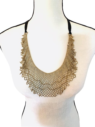 Preload https://img-static.tradesy.com/item/25432985/gold-black-metal-woven-beaded-bib-style-with-silk-ribbons-tie-necklace-0-3-540-540.jpg