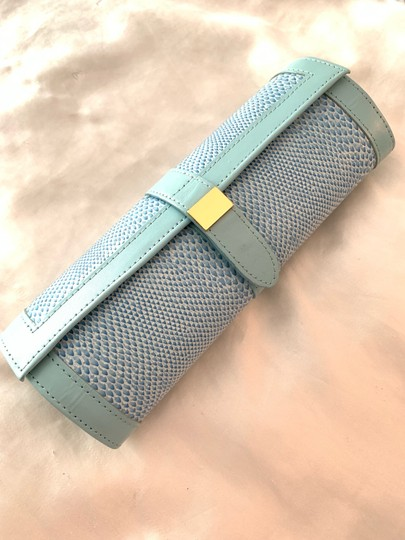 Jewelry Bag Roll Up Leather Jewelry Holder for Travel or Storage in Tiffany Green Image 1
